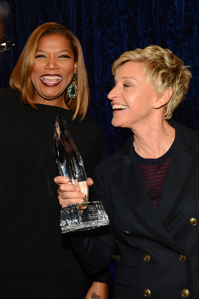 Queen Latifah celebrated with Ellen DeGeneres.