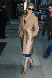 Scarlett Johansson pumped up the glamour when she arrived at The Late Show in NYC on Wednesday.