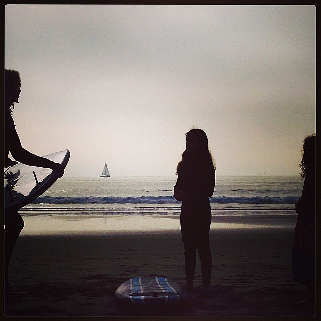 Soleil Moon Frye's daughters enjoyed a Winter surfing lesson over their Winter break. Source: Instagram user moonfrye