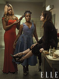 Laverne Cox (Sophia), Uzo Aduba (Suzanne), and Taryn Manning (Tiffany) posed in the restroom. Source: Elle