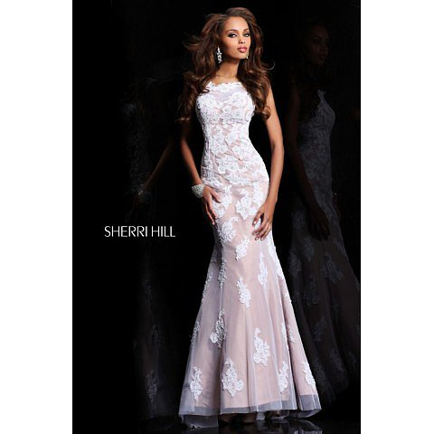 Sherri Hill 21028 White Nude Prom Dress