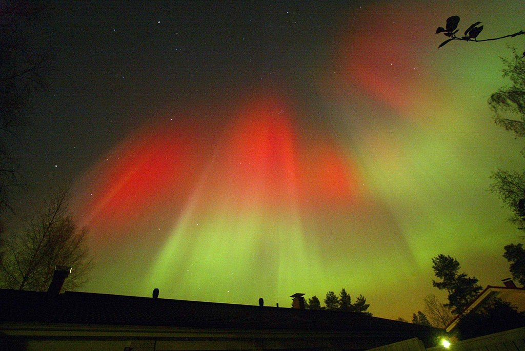 Vivid oranges and greens filled the Finland sky when the northern lights were seen in October 2003.