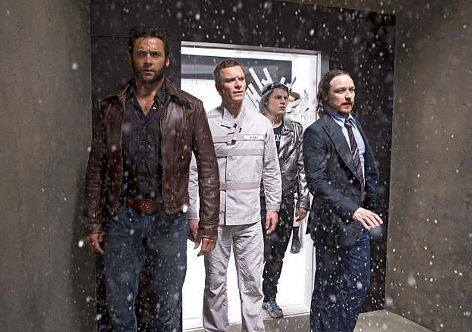 The men stumble into a snowy patch.