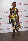 Lupita Nyong'o dazzled in a floral dress and matching blue heels.