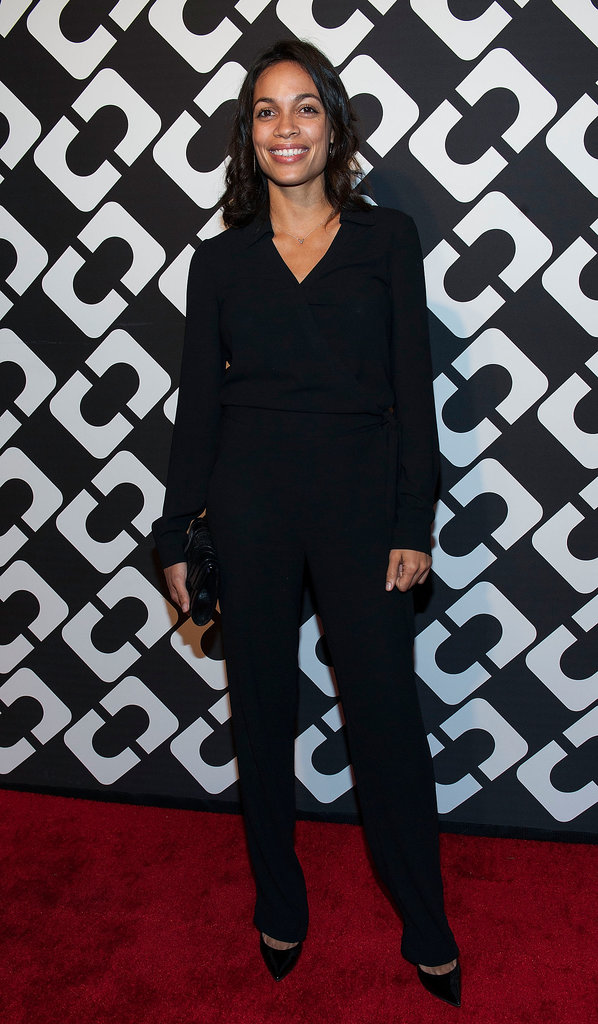 It was yet another jumpsuit for Rosario Dawson, who paired hers with pointy-toed pumps.