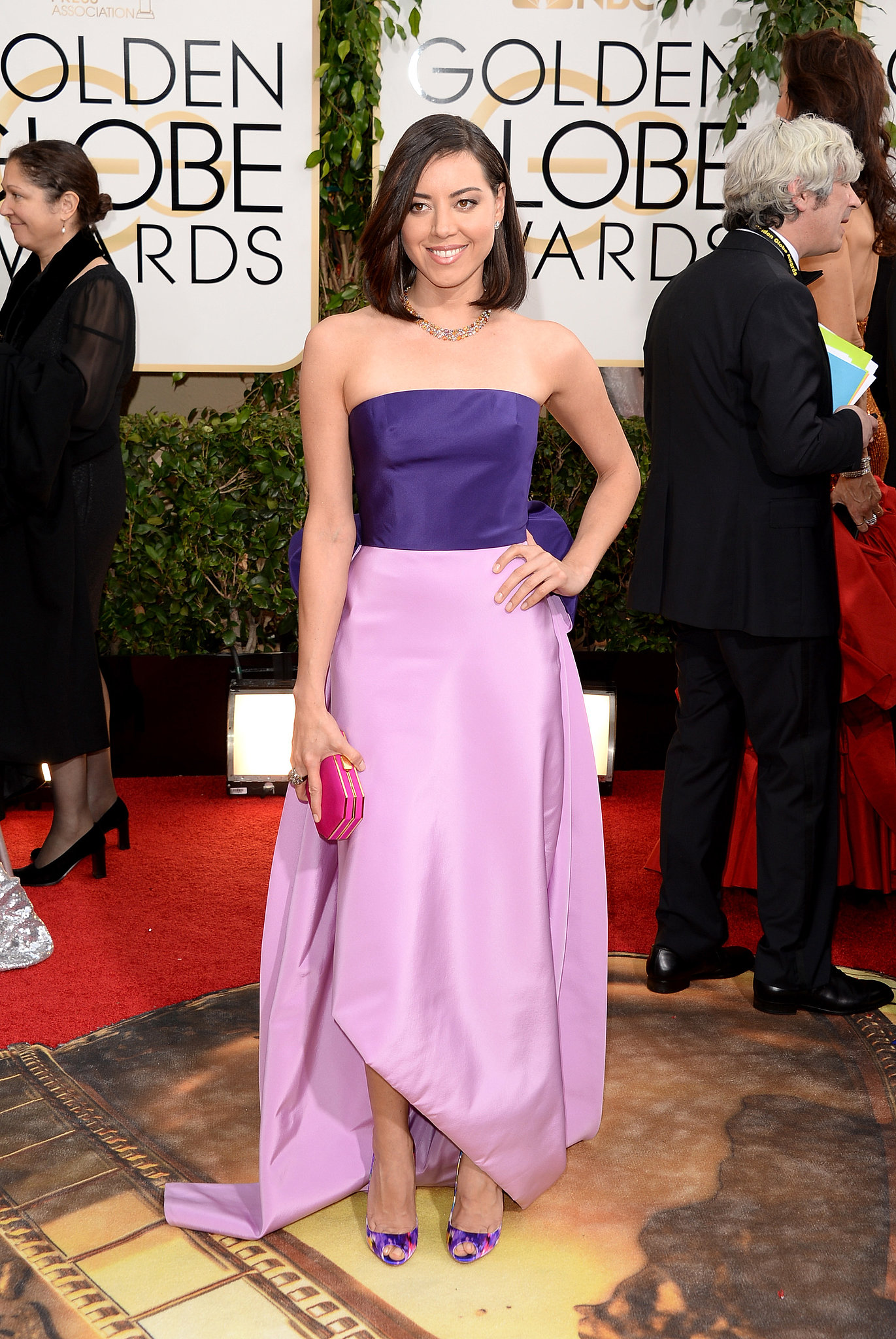 Aubrey Plaza picked a purple gown for the Golden Globes.