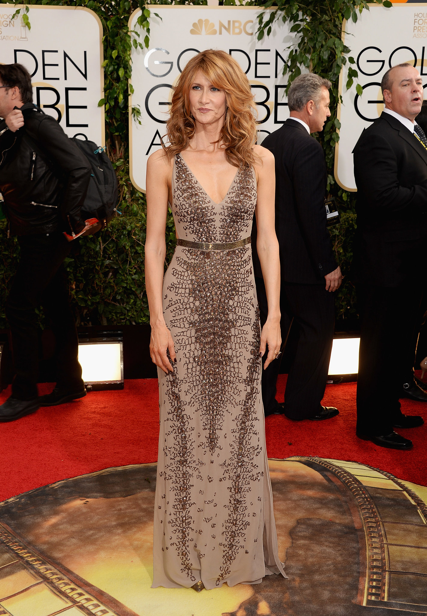 Laura Dern arrived at the Golden Globes.