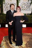 Nick Offerman and Megan Mullally posed for pictures at the Golden Globes.