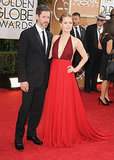 Amy Adams struck a pose alongside Darren Le Gallo at the Golden Globes.