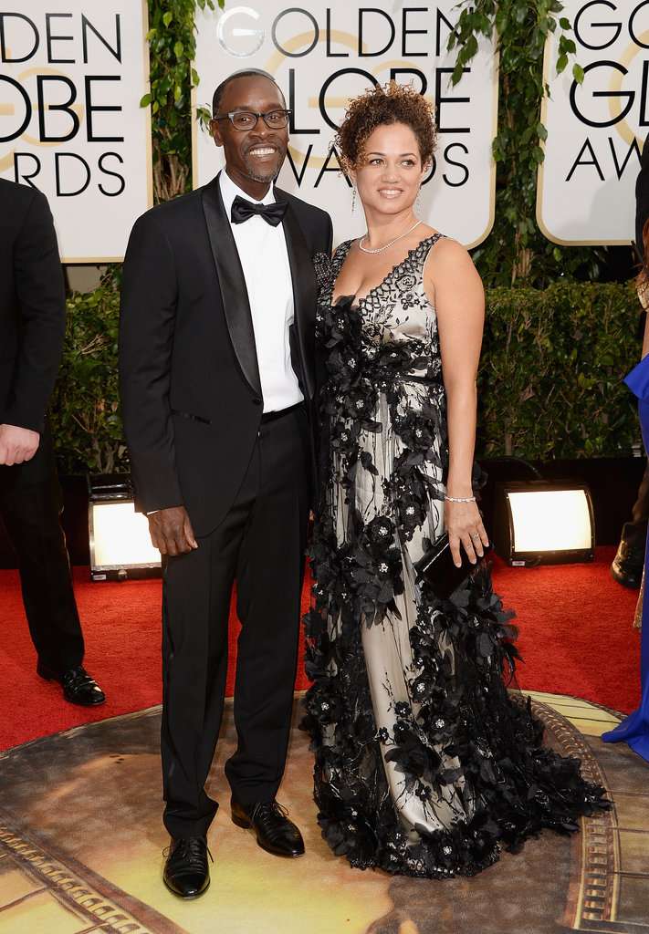 Don Cheadle smiled alongside Bridgid Coulter, who wore a Claire Pettibone gown to the Golden Globes.