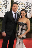 Channing Tatum gave a handsome smirk alongside Jenna Dewan.