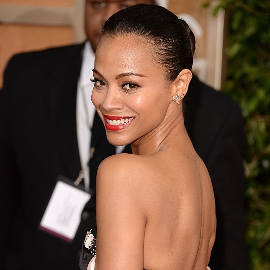 Zoe Saldana Hair and Makeup at Golden Globes 2014