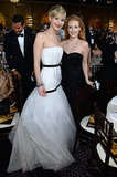 Jennifer Lawrence and Jessica Chastain doubled up for a photo.  Source: Larry Busacca/NBC/NBCU Photo Bank/NBC