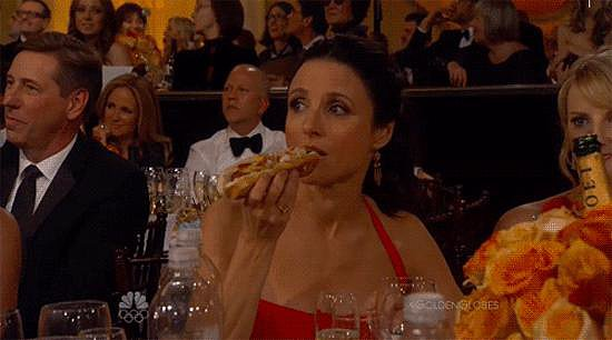 And eating a hot dog at the Golden Globes.