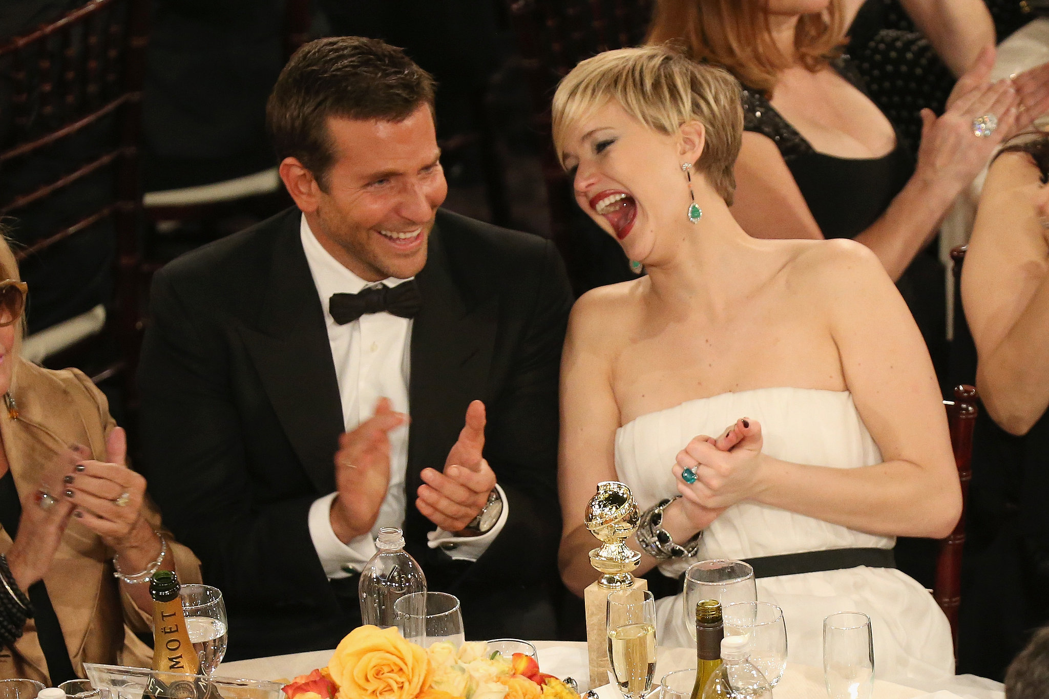 Jennifer Lawrence cracked up alongside Bradley Cooper.  Source: Christopher Polk/NBC/NBCU Photo Bank/NBC