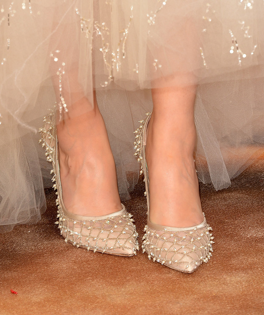 Zooey Deschanel showed off pearl-embellished heels fit for a princess.