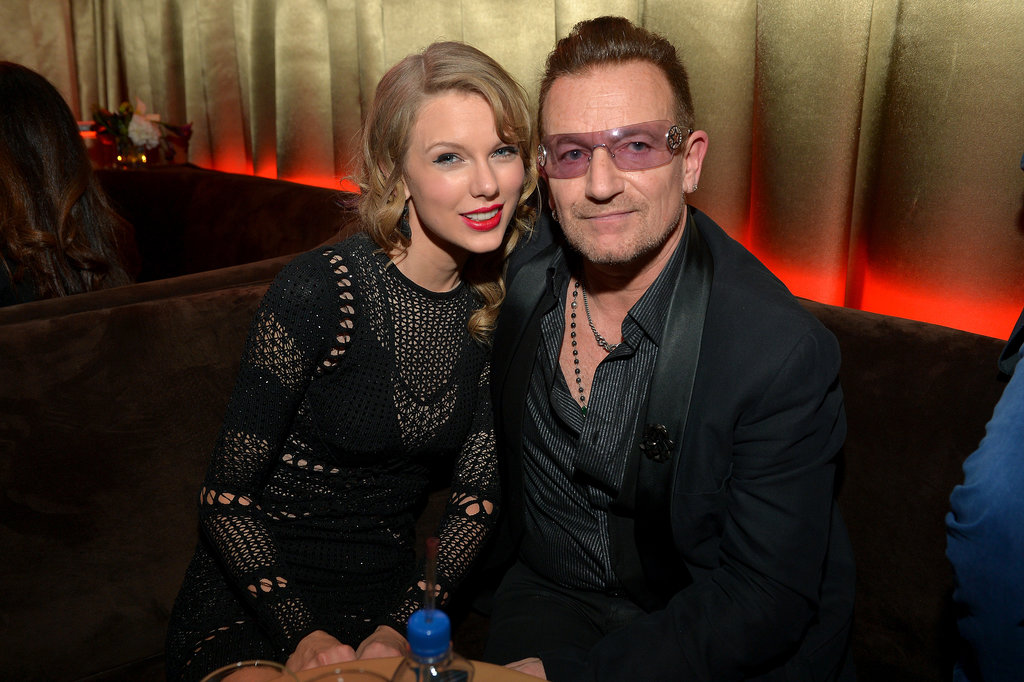 Taylor Swift met up with Bono inside the bash.