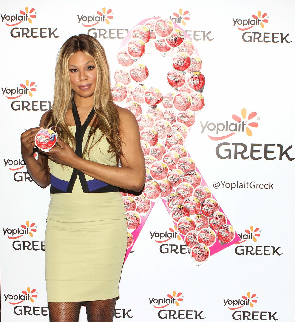 Orange Is the New Black star Laverne Cox took part in a Yoplait Greek fund-raiser at the GBK Gift Lounge in LA on Saturday. For every lid licked during the event, Yoplait Greek donated $100 to Susan G. Komen For the Cure. Source: David Aguilera Photography