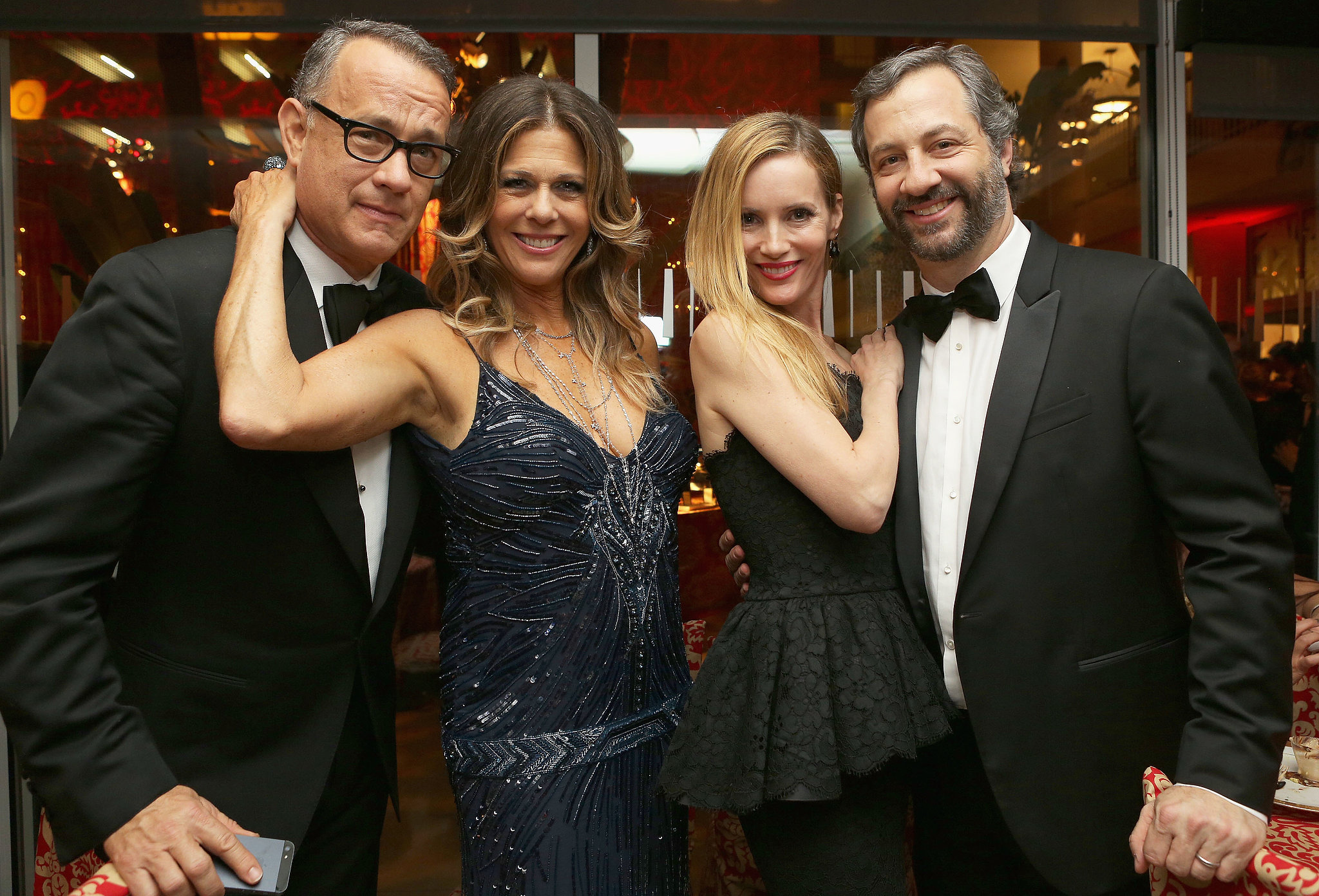 Rita Wilson and Leslie Mann partied with their men, Tom Hanks and Judd Apatow, at HBO's post-Globes fete.