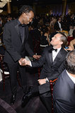 Leonardo DiCaprio shook hands with Captain Phillips nominee Barkhad Abdi. Source: Larry Busacca/NBC/NBCU Photo Bank/NBC