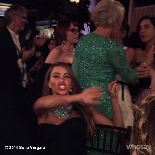 Once inside, Sofia got excited about the presence of Helen Mirren. Source: Instagram user sofiavergara