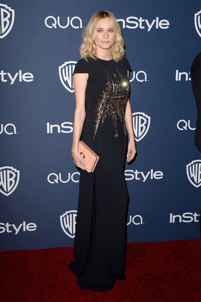 Diane Kruger looked gorgeous in a black and gold sequined dress at the InStyle/Warner Bros. Golden Globes afterparty.