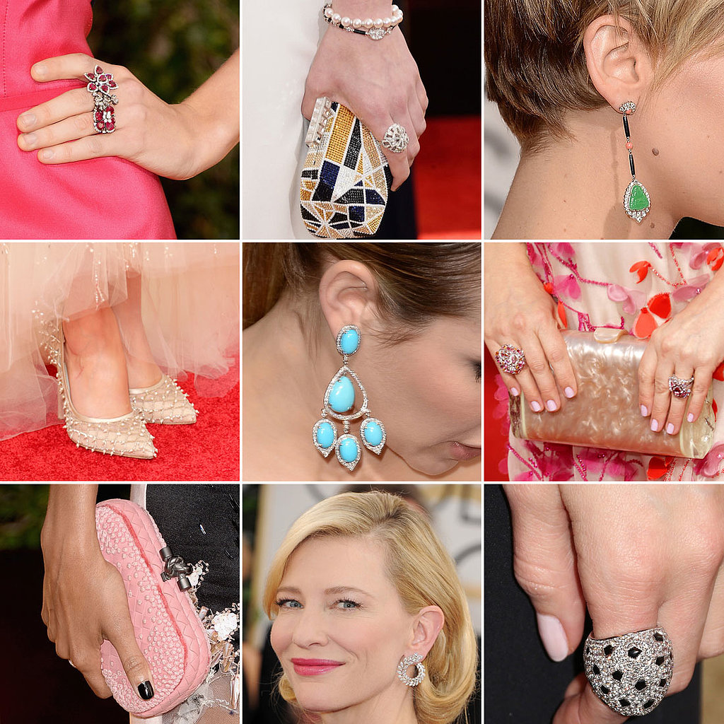 Golden Globes 2014 Shoes and Jewelry on Red Carpet