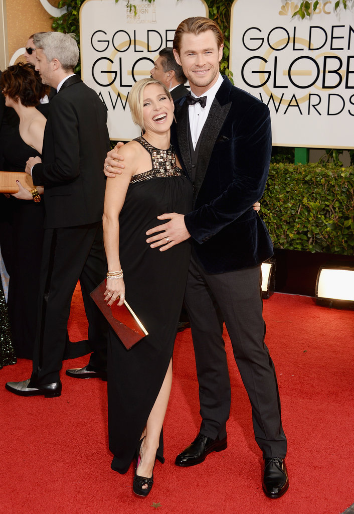 Chris Hemsworth showed off his wife Elsa Pataky's baby bump on the red carpet.