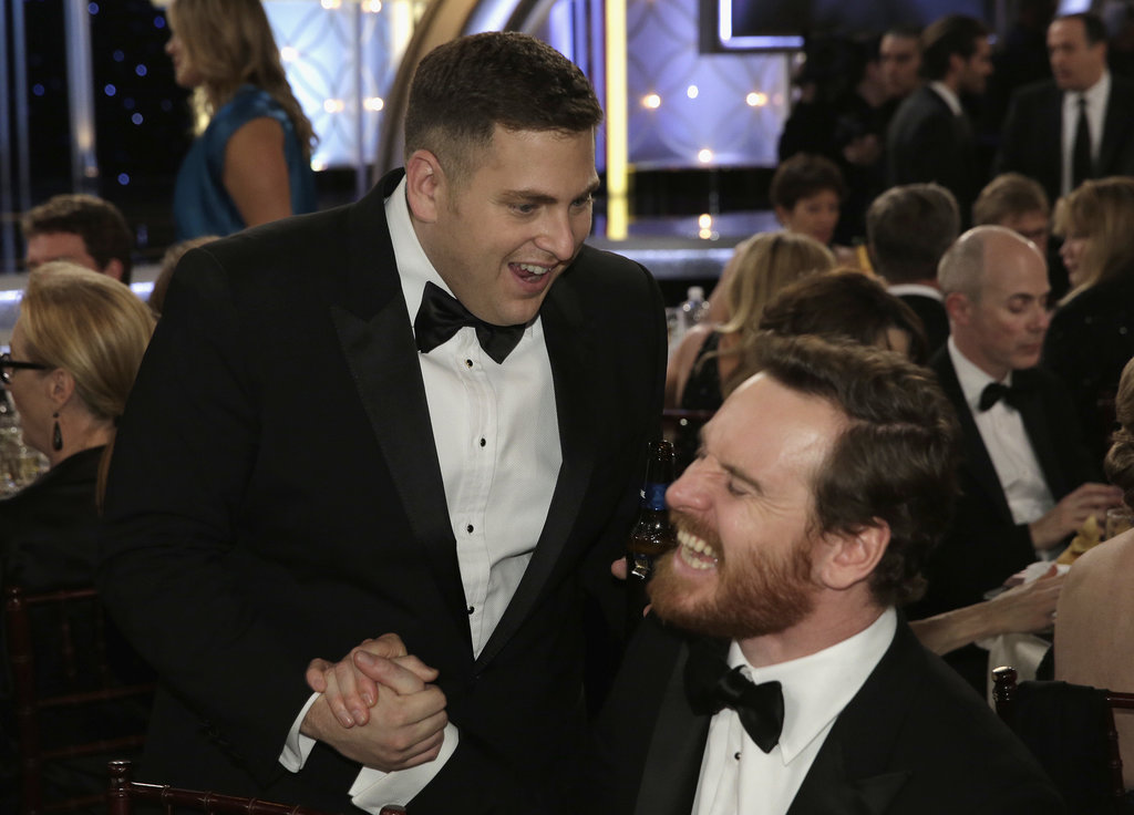 Jonah HIll had a laugh with Michael Fassbender.  Source: Paul Drinkwater/NBC/NBCU Photo Bank/NBC