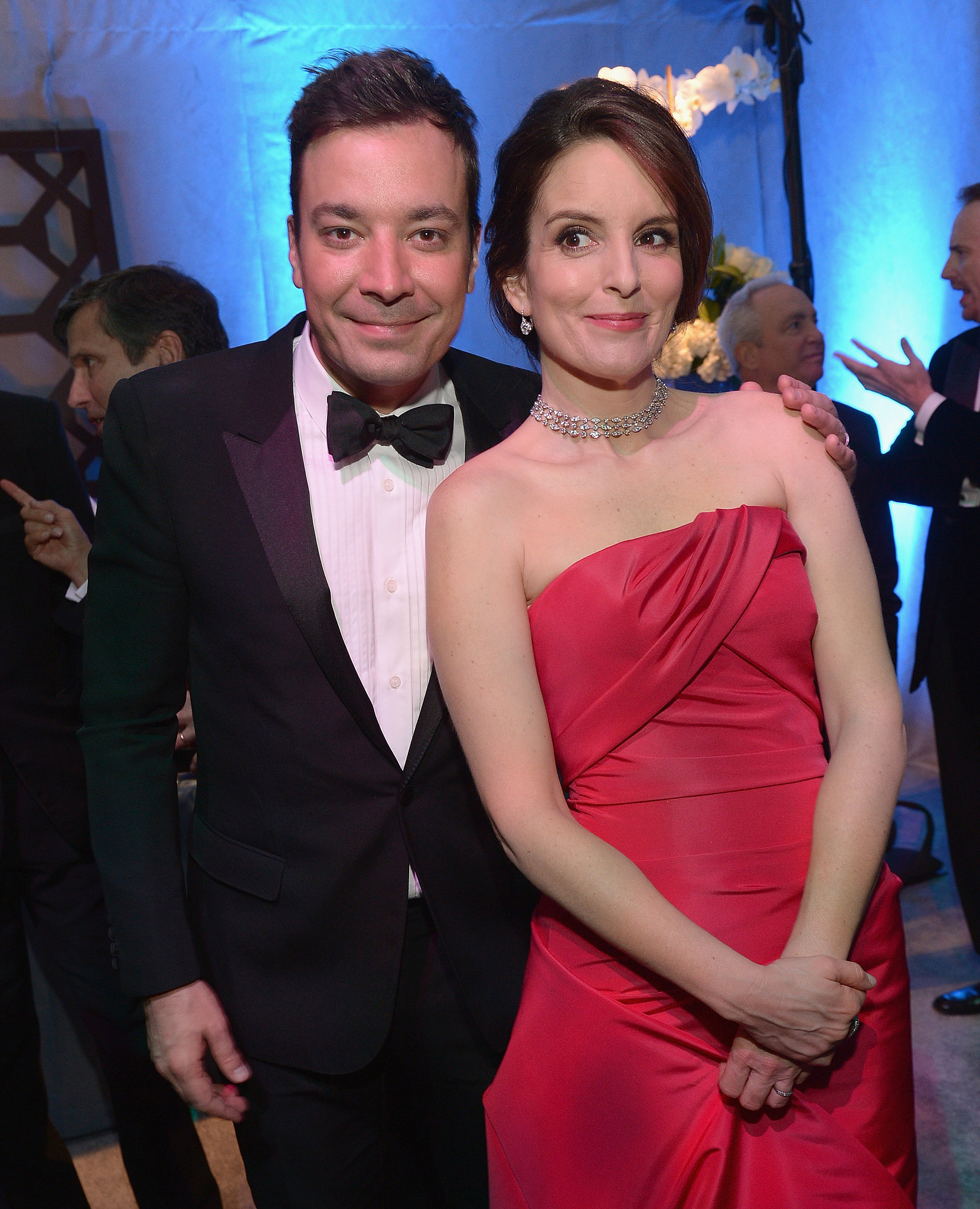 Tina Fey caught up with her pal Jimmy Fallon at the NBC party.