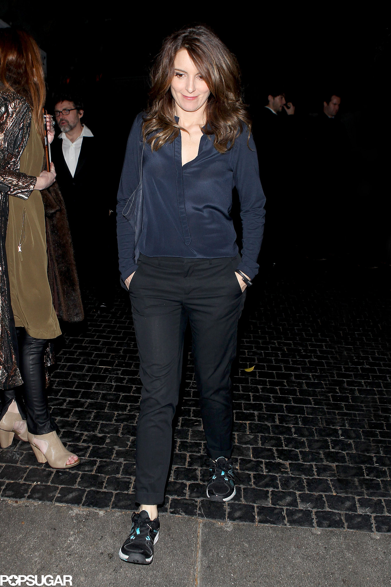Tina Fey was dressed down as she left Chateau Marmont at the end of the night.