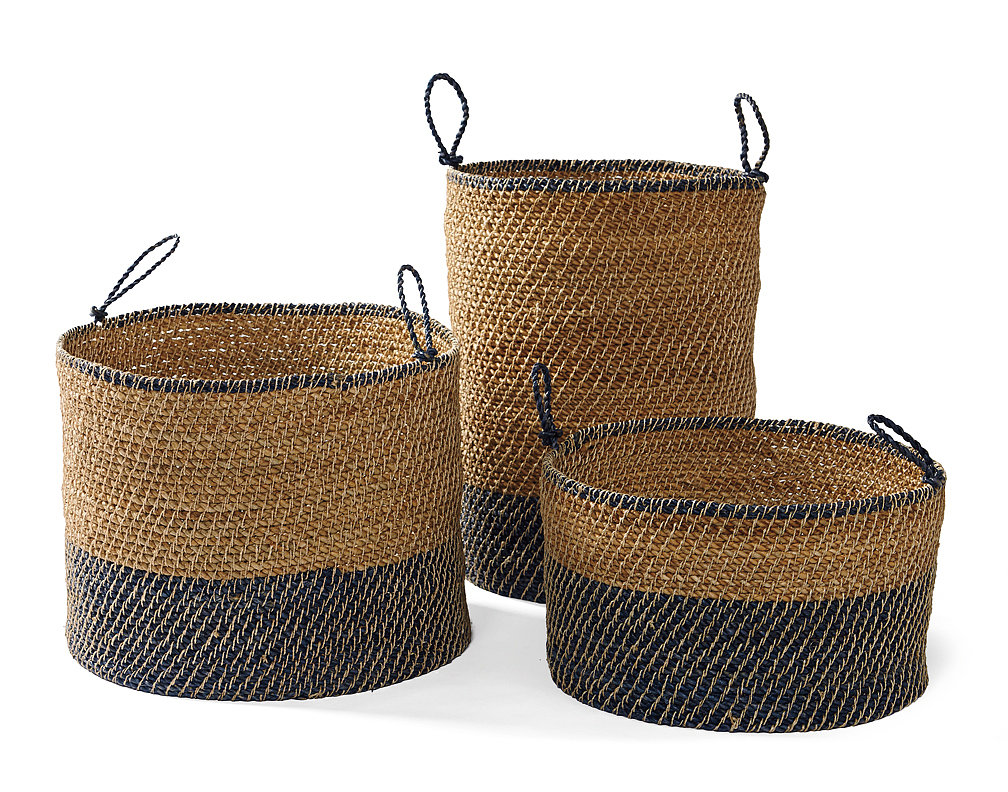 Set of three seagrass baskets in navy ($198)