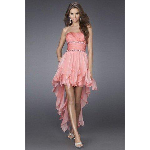 Hot Selling A Line Strapless Asymmetrical Train Prom Dress BAB0085