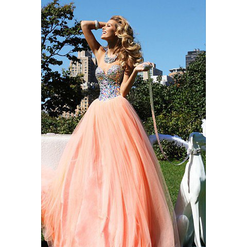 Glistening Sweetheart Tulle Prom Dress Beaded Rhinestone BAB0008