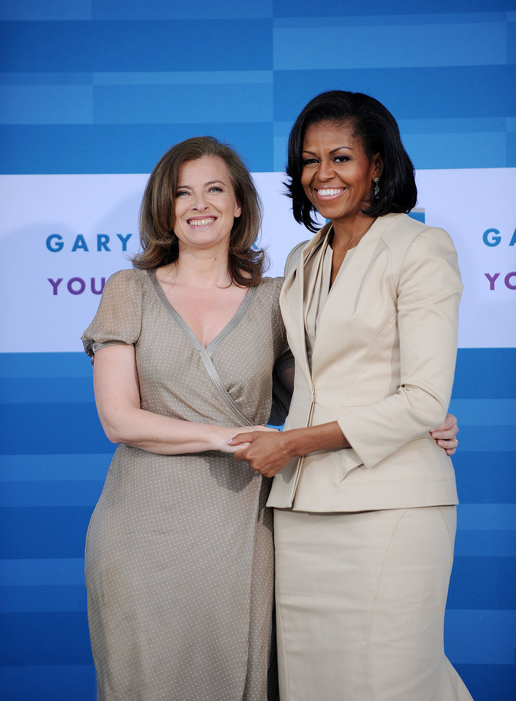 Here she was with Michelle Obama in Chicago in 2012. Valérie and President Hollande were expected to visit the US next month for an official state visit.