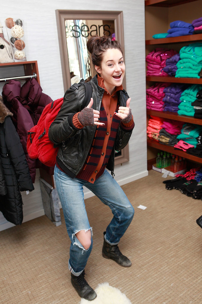 Shailene Woodley gave a thumbs-up and wide grin while picking up a new backpack at the 2013 festival.