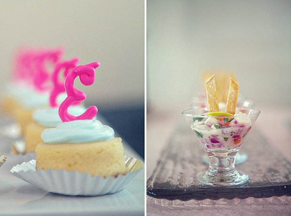 Remember who's the star! Mini cheesecakes are topped with the bride's first initial. Photos by Serendipity Studios