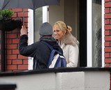 Toni Collette stayed dry on the set of Glassland in Dublin, Ireland, on Tuesday.