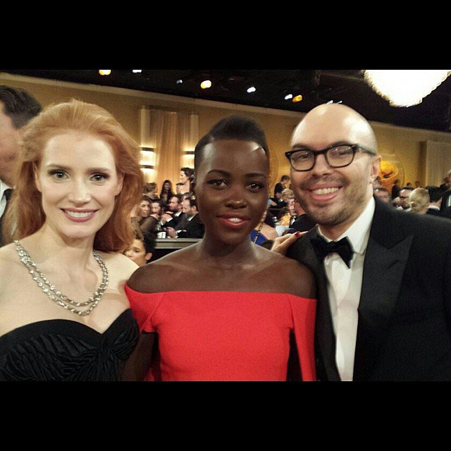 """#GoldenGlobes Checklist: say hello to #JessicaChastain - CHECK!"" Source: Instagram user lupitanyongo"