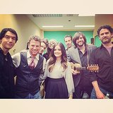 Lucy Hale posed with her band after their performance on Good Morning America. Source: Instagram user lucyhale89