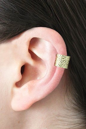 Chibi Jewels Hammered Ear Cuff in Brass ($25)