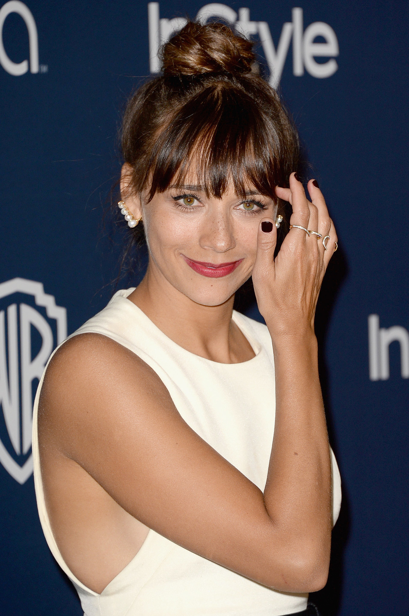 Rashida Jones feat pearl ear cuffs