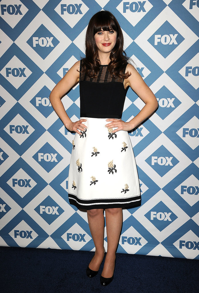 Zooey Deschanel rocked a fun outfit.