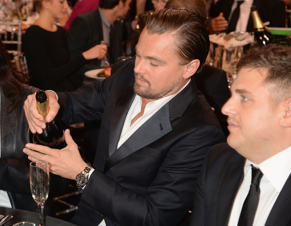 Leonardo DiCaprio poured himself some Champagne.