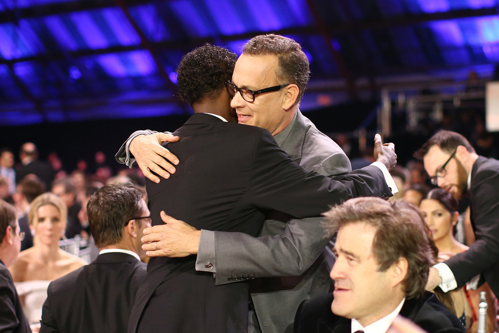 Tom Hanks hugged Barkhad Abdi.