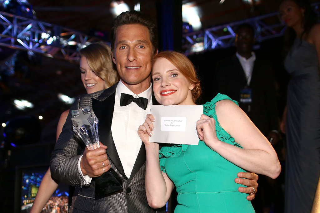Jessica Chastain held up the card from which she read Matthew's name before he accepted the best actor award.