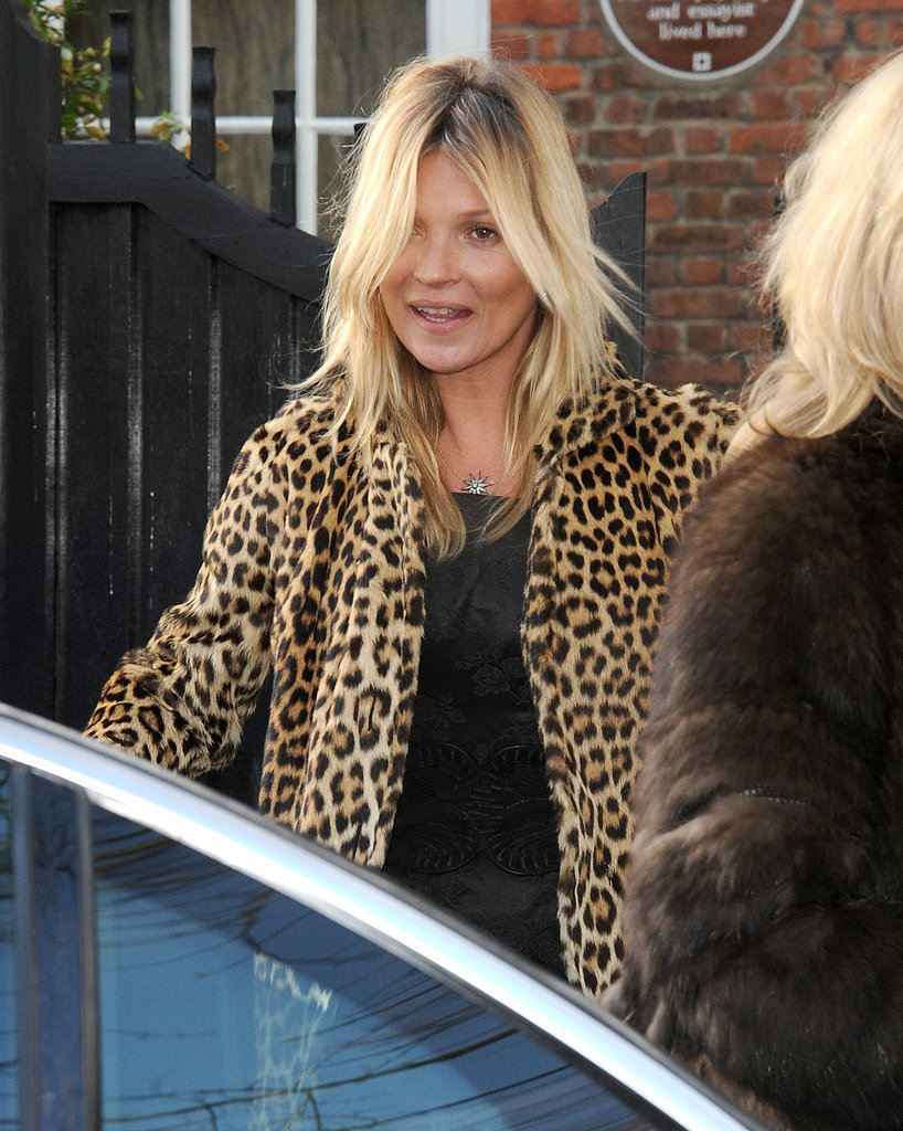 Kate wore a leopard coat.