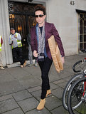 Nick Grimshaw carried a package outside Kate's birthday.