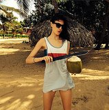 Jacquelyn Jablonski perfected her machete skills while drinking healthy. Source: Instagram user jacquelynjablonski