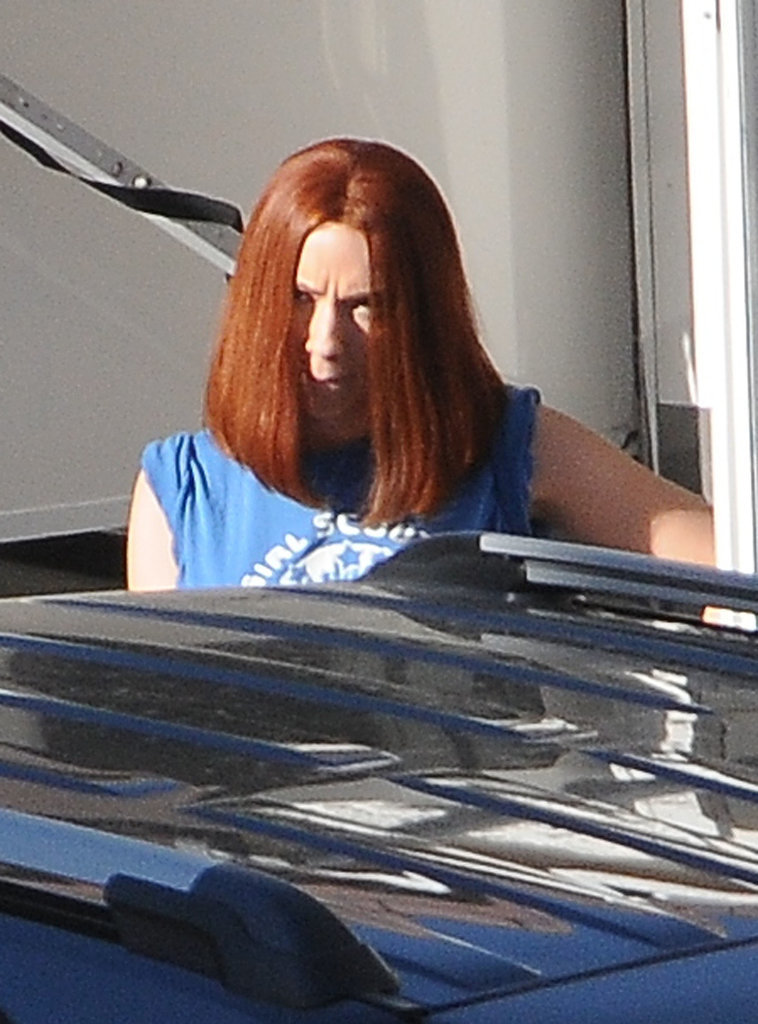 Scarlett Johansson hit the set of Captain America: The Winter Soldier in LA on Monday.